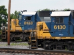 CSX 8133 and 6130 wait in the yard for a job