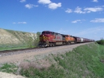 BNSF Grain Train Amongst the Hills Along the Missouri River