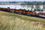 Unit Grain Train Heads West Past the Missouri River