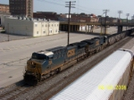 CSX 568 leads southbound coal load