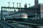 Massachusetts Bay Transportation Authority Commuter Train, with Rebuilt EMD FP10 No. 1150 in the lead,