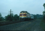 Massachusetts Bay Transportation Authority Commuter Train, with Rebuilt EMD FP10 No. 1111 in the lead,
