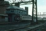 Massachusetts Bay Transportation Authority Commuter Train led by Budd RDC1 No. 75 arrives