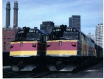 Massachusetts Bay Transportation Authority EMD F40PH No. 1001 and No. 1008