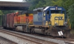 """CSXT 8453 (SD40-2) Built As: UP 3090 (SD40) and BNSF 4909 (C44-9W) coming off the """"old"""" mainline"""