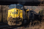 CSXT 508(AC44CW) leads a 135 car coal train off the old main line