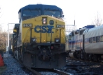 CSX 216(AC44CW) in helper service pushing a 135 car coal train off the old main line