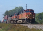 BNSF 4123 Leads a Doublestack Train South out of Town