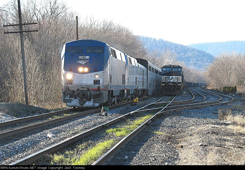 AMTK 43 passes a visitor to the yard