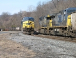 CSX E729 heads west passing V364