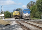 The crew of Q296 takes care of a little business as the Capitol Limited comes by