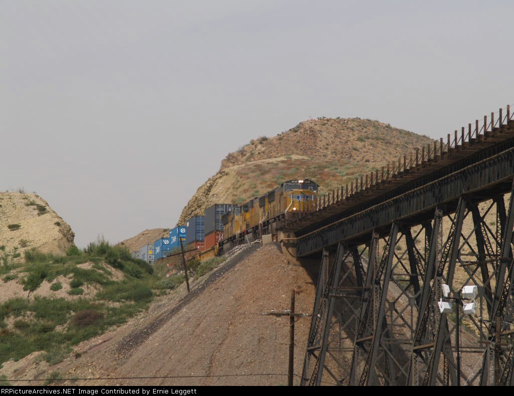 UP 4648, 4525, and 5036 begin bridge crossing over the Rio Grande