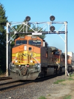 Eastbound BNSF Intermodal Under the Old CB&Q Signal Bridge