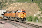 BNSF rounding the Curve at Swarhtout