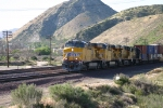 3 UP GEVO's and a DRGW SD50 Lead a train down Cajon