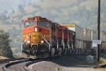 BNSF Intermodal climbs passed Walong
