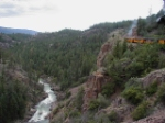 "Headed towards Durango, the ""famous"" ledge above the Animas River gorge."