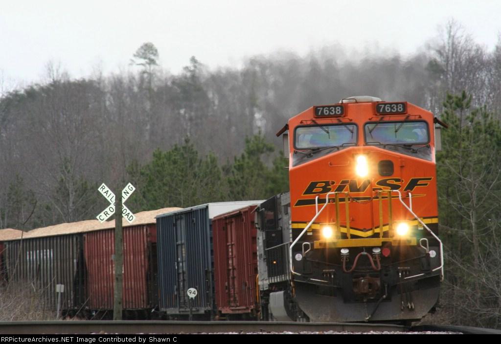 BNSF 7638 Heading West on NS tracks