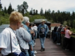 """Mr. Don Schneider, our docent, or, greeter from the """"Friends of the Cumbres and Toltec"""" was entertaining with his knowledge of the land and the railroads operation and history. His wireless headset sent his voice over loud speakers."""