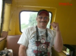 """Crabrails"" sitting in the cupola of Wabash caboose #2827"