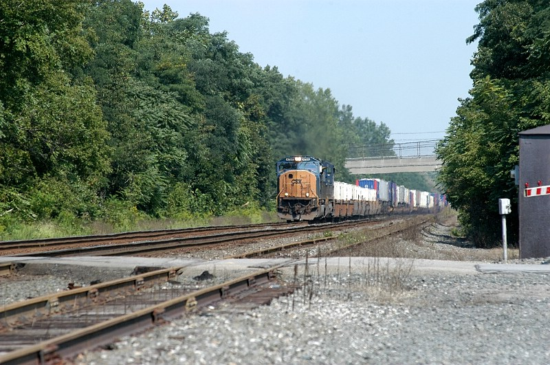 just passing Welch's westfield plant csx stack train gets ready to clear the work zone