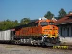 BNSF 5941 pushes coal train past depot.