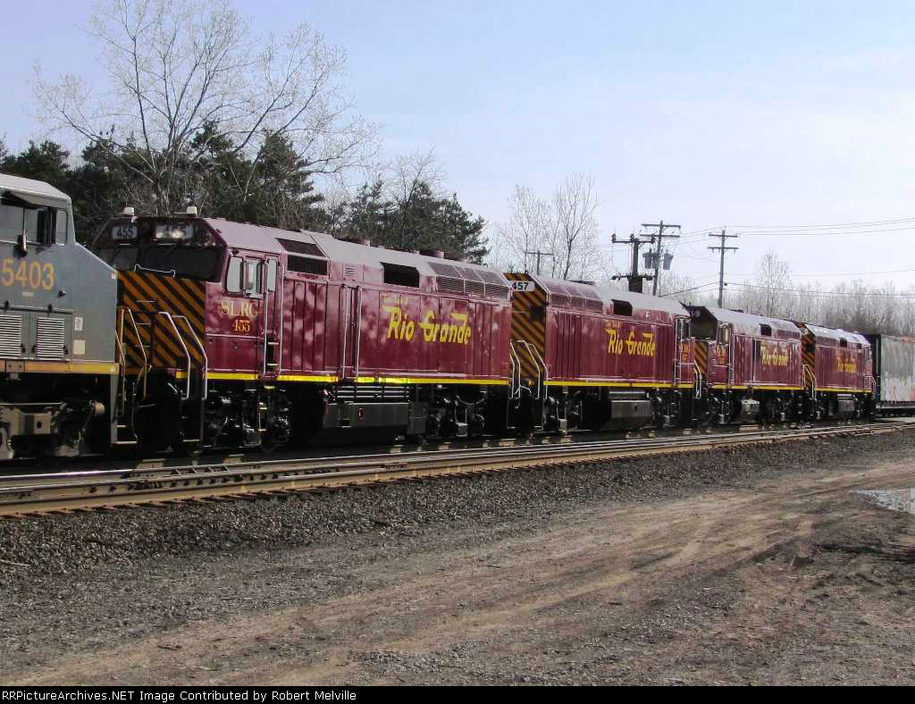 SLRG 455 (with sisters 457, 245 and 455) dead in tow at CP 382