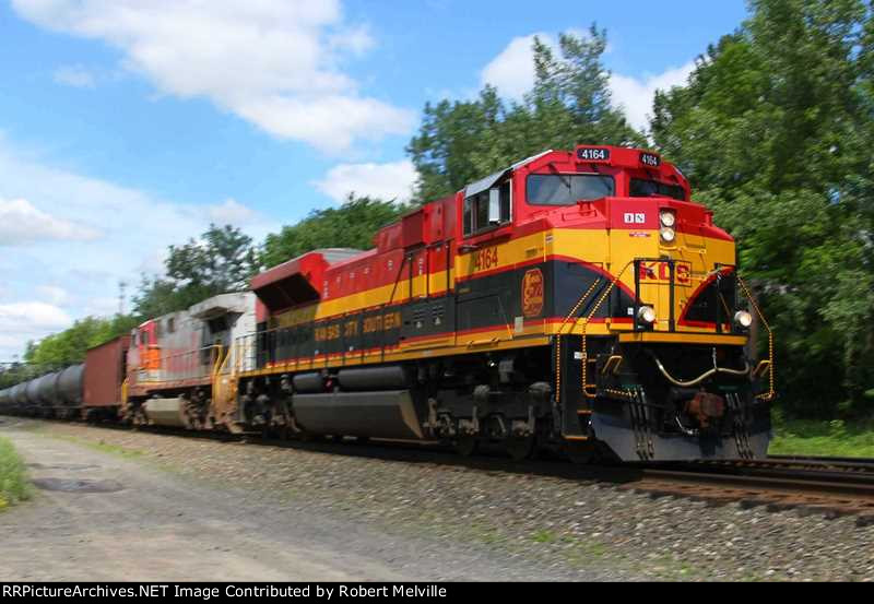 KCS 4164 and BNSF 641 eastbound with the K040-04 at CP 382
