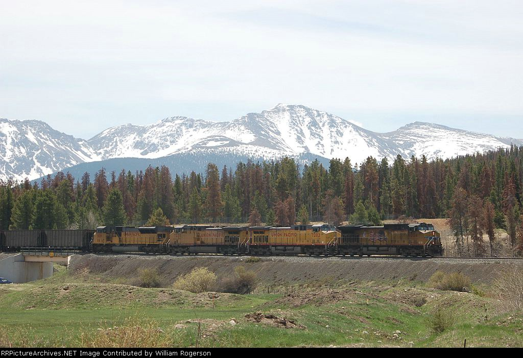 Westbound Union Pacific Railroad Unit Coal Train powered by GE AC44CWCTE No. 6024, AC44CW No. 7202, AC44CW No. 7235 and EMD SD70M No. 5019