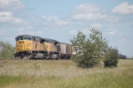 Union Pacific Railroad Unit Grain Train switches cars