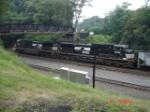 A pair of C40-9W's lead NS 501 EB under the Cassandra Overlook Bridge