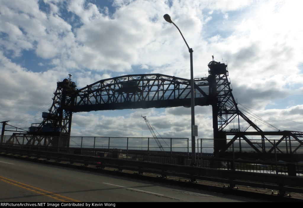 PATH Hackensack River Lift Bridge in raised position