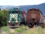 Passing through Armstrong, BC; hopper at right at unloading siding