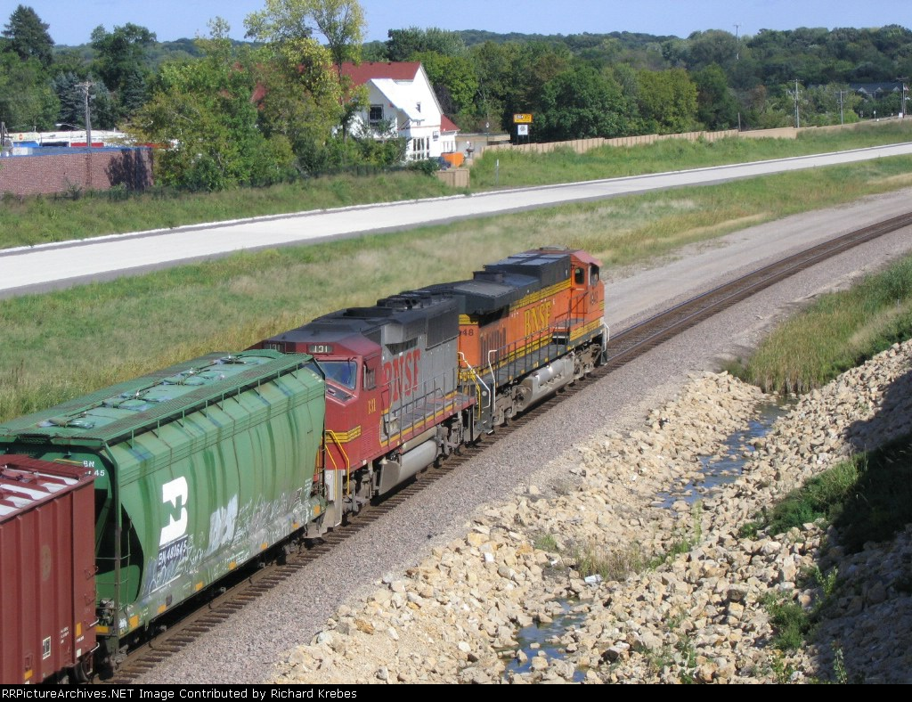 Going Away Shot Of BNSF 131 and BNSF 4948