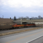 An EMD and A GE Passing Underneath Brown Road