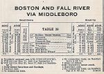 1937 NHRR Hyannis / Fall River Wharf Via Middleboro Timetable