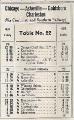 1951 NYC / SOU Asheville - Charleston Timetable