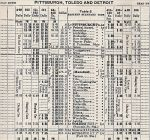 1935 PRR Mansfield, OH - Toledo, OH - Detroit, MI Timetable