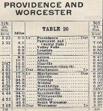 1937 NH Worcestor, MA Timetable