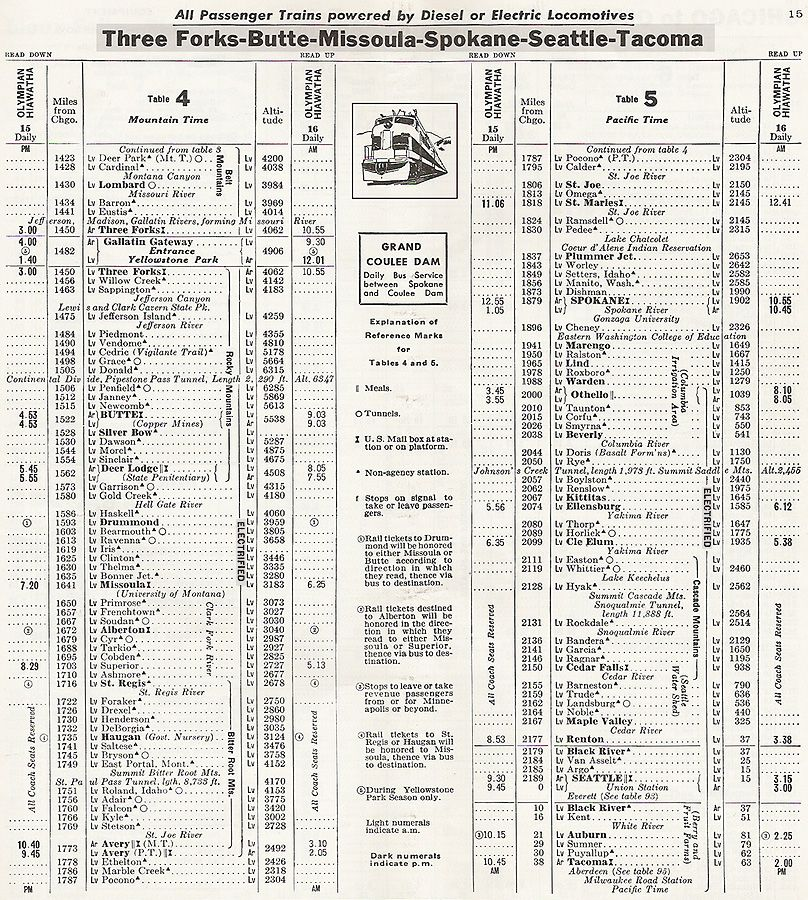 1956 MILW Seattle Timetable