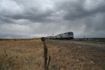 Amtrak #3, The Southwest Chief, splits the semaphores on a stormy day