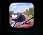NM Railrunner through the Santa Fe Southern caboose window