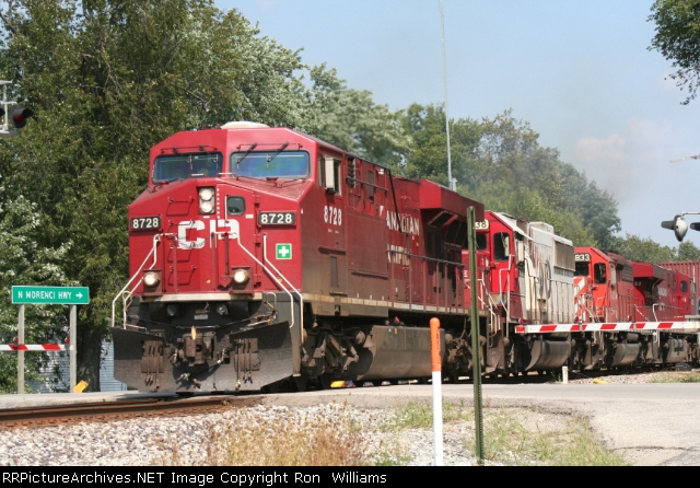 CP 8728 leads WB CP train on NS Wabash line at M156 crossing