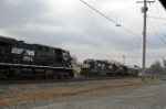 NS 7709 Meets NS 5608 and Research Train on Chicago Line