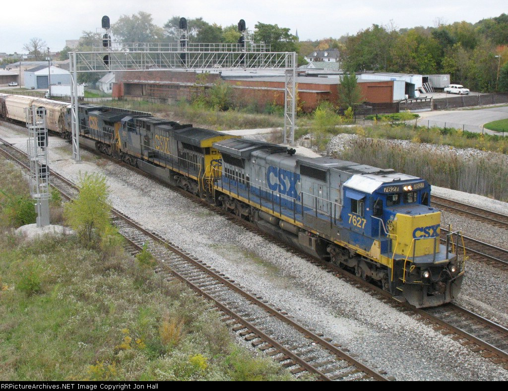 CSX 7627, 607 & 5114 starting south again with Q643-19