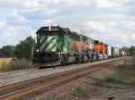 BNSF 8069 leading Q381 west with new GEVO's 6110 & 6104 in tow