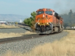 BNSF 7630 ES44DC leading grain train over the Bozeman Pass