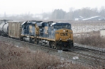 CSX 5382 in a snow flurry
