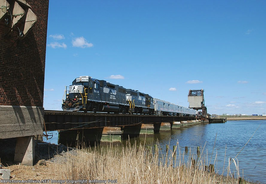 The circus train crossing the Hackensack River