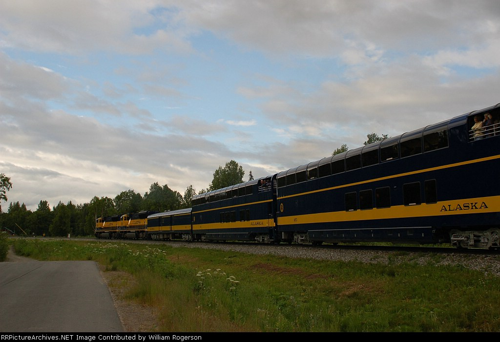 "Alaska Railroad's Southbound ""Denali Star"" departs the Station"